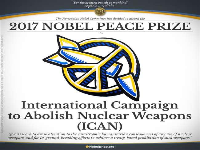 शांति का नोबेल इंटरनेशनल कैंपेन टू एबॉलिश न्यूक्लियर वीपन्स संस्था को
